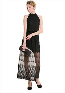 Elegant Sleeveless Keyhole Back Maxi Dress With Sheer Lace Overlay