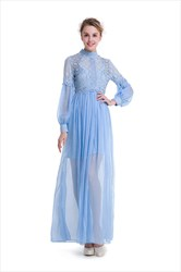 Lovely Long Sleeve A-Line Lace Bodice Chiffon Bottom Maxi Dress