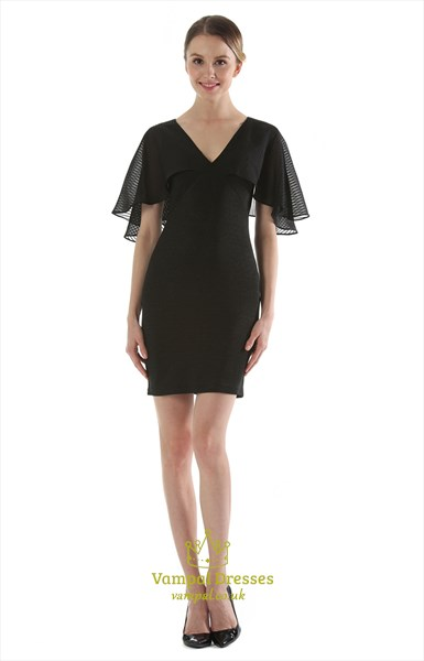 Elegant Black V-Neck Knee Length Sheath Dress With Butterfly Sleeve