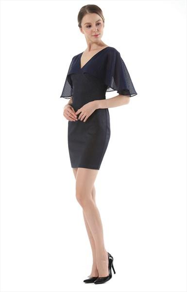 Elegant Black V-Neck Knee Length Sheath Dress With Butterfly Sleeve