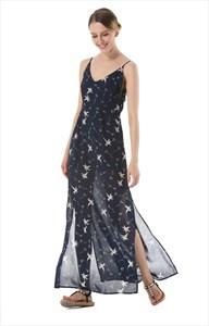 Spaghetti Strap V-Neck A-Line Long Floral Dress With Side Split