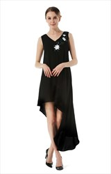 Sleeveless V-Neck A-Line Embroidery High Low Chiffon Casual Dress