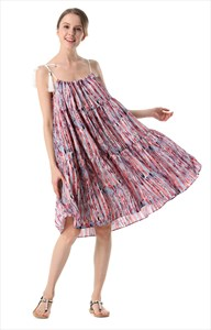 Women's A-Line Short Multi Wear Style Print Dress With Rope Straps