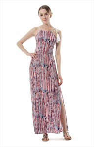 Elegant Sleeveless Side Split Print Maxi Dress With Rope Straps