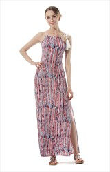 Elegant Sleeveless Side Split Print Maxi Dress With Rope Straps