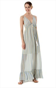 Sleeveless Deep V-Neck A-Line Striped Maxi Dress With Open Back