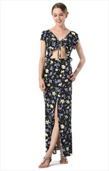 Short Sleeve V-Neck Split Floral Print Dress With Front Cut Out