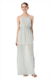 Sleeveless Spaghetti Strap Striped Maxi Dress With Side Split