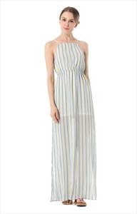 Sleeveless Spaghetti Strap Striped Maxi Dress With Side Split