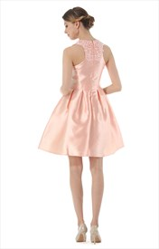 Lovely Sleeveless A-Line Short Satin Dress With Sheer Lace Bodice