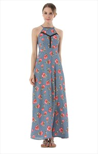 Sleeveless Backless Floral Print Maxi Dress With Spaghetti Strap
