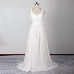Long Chiffon Sleeveless Backless V Neck Wedding Dress With Court Train