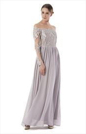 Illusion Off The Shoulder Long Sleeve Lace Bodice Chiffon Maxi Dress