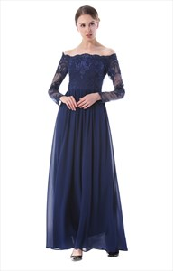 Illusion Off The Shoulder Long Sleeve Lace Bodice Chiffon Maxi Dress