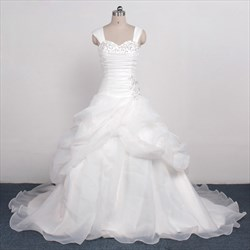 Gothic Beaded Ruffle Sleeveless Wedding Dress With Beaded Neckline