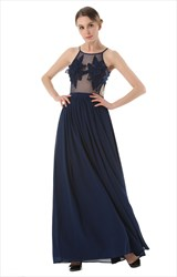Spaghetti Strap Chiffon Bottom A-Line Maxi Dress With Sheer Bodice