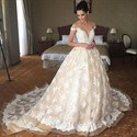 Elegant Light Champagne Long Wedding Dress With Lace Overlay And Train
