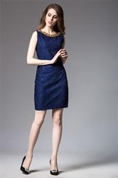 Sleeveless Short Sheath Lace Dress With Embellished Neckline