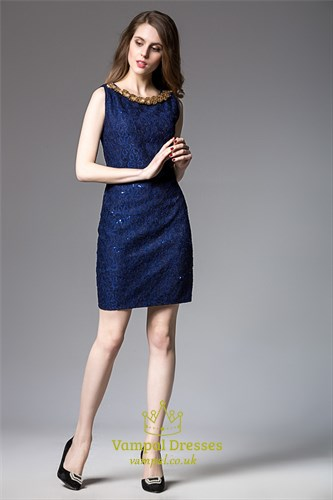 Sleeveless Short Sheath Lace Dress With Embellished Neckline
