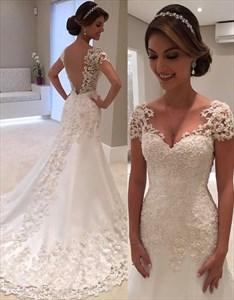 Illusion Lace Overlay V Back Mermaid Style Wedding Dress With Train