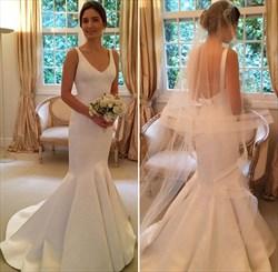 White Satin V Neck Backless Long Mermaid Wedding Dress With Train
