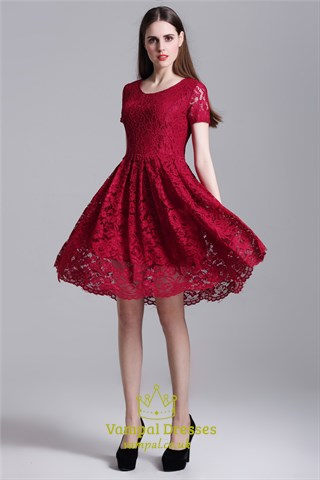 Burgundy Simple Short Sleeve A Line Knee Length Lace