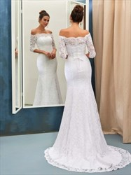 White Lace Off The Shoulder 3/4 Length Sleeve Mermaid Wedding Dress