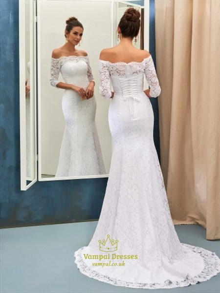 d8294fe26a5 White Lace Off The Shoulder 3 4 Length Sleeve Mermaid Wedding Dress ...