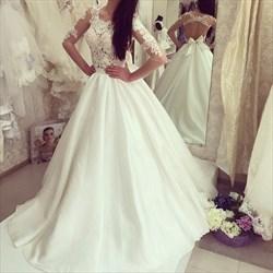 White Satin Illusion Lace Bodice Wedding Dress With 3/4 Length Sleeve