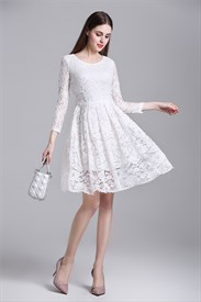 Simple Long Sleeve Knee Length A-Line Lace Overlay Casual Dress