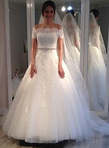 Elegant Off The Shoulder Ball Gown Wedding Dress With Beaded Waist