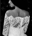 Elegant Off The Shoulder Floor Length Wedding Dress With Lace Bodice