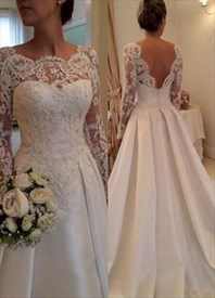 V Back Long Sleeve Illusion Lace Bodice Wedding Dress With Train