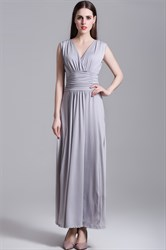 Sleeveless V-Neck A-Line Ruched Chiffon Maxi Dress With Open Back