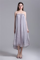 Simple Strapless A-Line Long Dress With Multi Wear Style