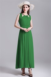 Sleeveless A-Line Ruched Ankle Length Dress With Rope Straps