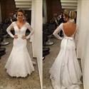 White Lace V Neck Long Sleeve Mermaid Wedding Dress With Train