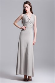 Elegant Sleeveless V-Neck Sheath Maxi Dress With Cross Front