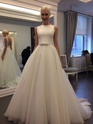 Elegant White Chiffon Floor Length Strapless Wedding Dress With Train
