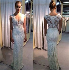 White Lace Sleeveless V Neck Floor Length Mermaid Style Wedding Dress