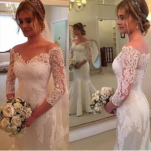 Off The Shoulder Illusion Neck 3/4 Sleeve Lace Mermaid Wedding Dress