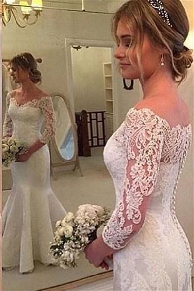 Off The Shoulder Illusion Neck 3/4 Sleeve Lace Mermaid Wedding Dress
