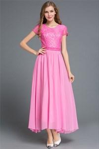 Simple Cap Sleeve A-Line Lace Bodice Chiffon Bottom Maxi Dress