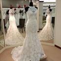 White Lace Sleeveless Halter Neck Mermaid Wedding Dress With Train