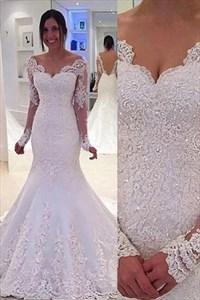 Sparkle White Lace V Neck Beaded Long Sleeve Mermaid Wedding Dress
