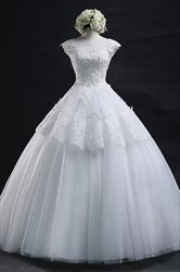 White Lace Beaded Bodice Capped Sleeve Ball Gown Wedding Dress