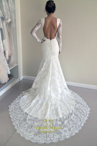 White Lace Long Sleeve Backless Mermaid Style Wedding Dress With Train