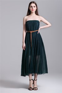 Simple Strapless Tea Length A-Line Dress With Multi Wear Style