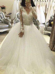 White Lace Long Sleeve V Neck Ball Gown Wedding Dress With Lace Bodice