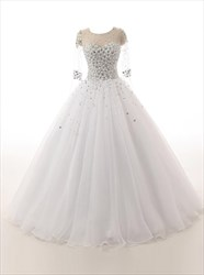 Glitter Illusion Long Sleeves Wedding Dresses With Crystal Beaded